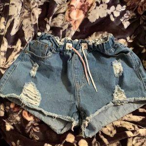 Pants - Elastic waist denim shorts. Vintage look